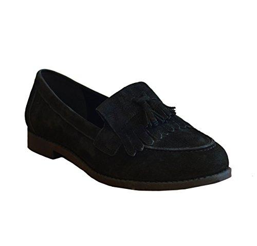Damen Flach Leder Schlupfschuhe Casual Arbeit Schule Fransen Pumpe Schuhe mit Quasten