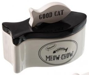 Good Cat Ceramic Fish Shaped Pet Food Storage Jar Cannister - Meow-Chow