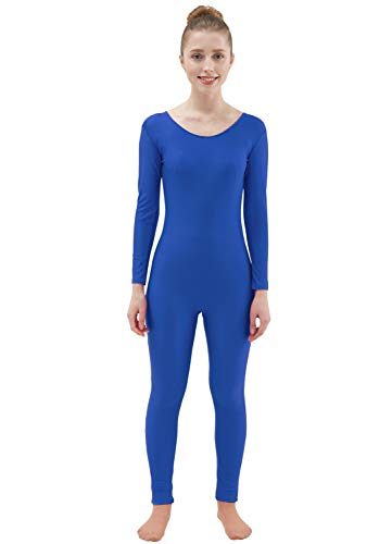 Ensnovo Womens Spandex Bodysuit Long Sleeve Scoop Neckline Footless Unitard Royal Blue,M