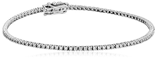 1 Carat Certified 14K White Gold Diamond Tennis Bracelet with Double Click Safety Clasp ()