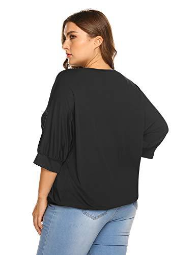 5a843d87a5f671 IN VOLAND Women Plus Size V Neck Wrap Front Drape Tops Casual Dolman Shirt  Blouse