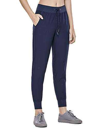 CRZ YOGA Women's Light Weight Drawstring Training Sports Jogger Pant with Pocket True Navy M(8/10)