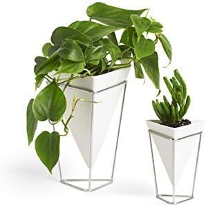 Umbra Trigg Desktop Planter Vase Geometric Container-for Succulent, Air, Mini Cactus, Faux Plants Ceramic Set of 2 , Desk, White Nickel