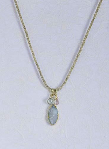 Drusy Agate, Prasiolite & Cherry Quartz Pendant Necklace