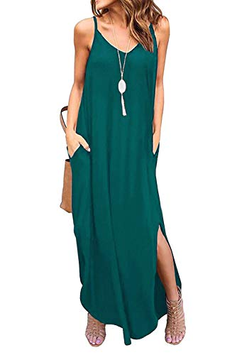 Donnalla Womens Summer Casual Loose V-Neck Dress Spaghetti Strap Sleeveless Split Maxi Dresses(Teal Blue Large)