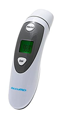 AccuMD - Instant Infrared Thermometer - Ear and Forehead Mode - Digital Display - Accurate Temperature - Medical Design - FDA Approved