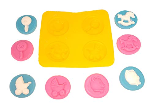 Flexible Molds - Baby Shower - Rocking Horse, Carriage, Rattle, Bear (4 cavity) - Cream Cheese Mint Molds - Candy Melts - Fondant - Caramels - Soft Candy Molds