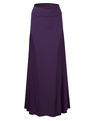 Lock and Love LL Womens Maxi Skirt with Side Panel - Made in USA M Purple