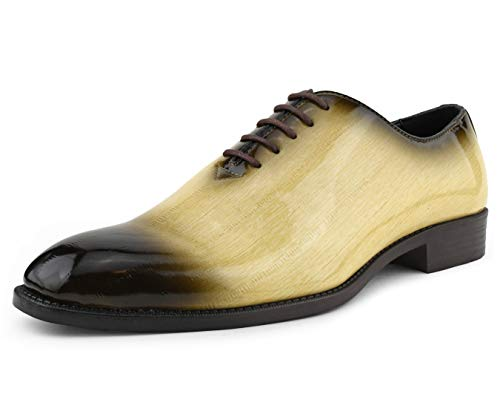 (Bolano Mens Exotic Faux EEL Skin Oxford Lace-Up Dress Shoes with Black Burnished Toe, Style Brayden)