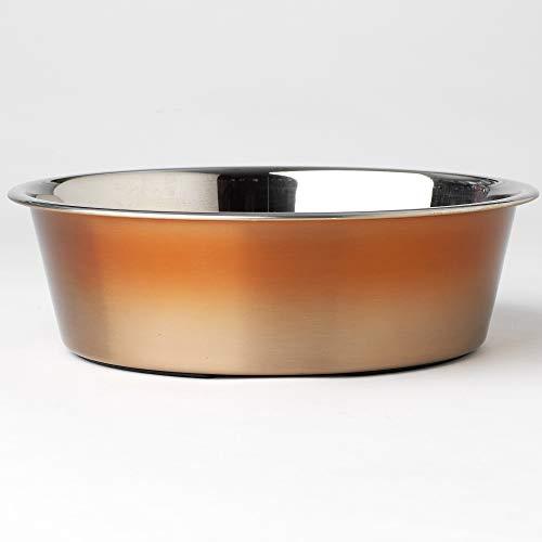 PetRageous Malta Ombre Non-Skid Stainless-Steel Bowl, Copper, 2 Quart/8.37