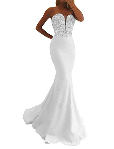 Jazylynbride Mermaid Strapless Floor Length Satin Prom Dress Formal Beaded Crystal Evening Gown White