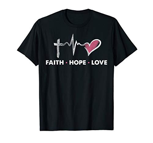 Christian T-Shirt - Faith Hope - Adult Black Unisex Christian T-shirt