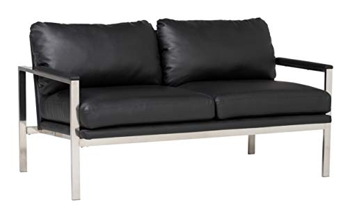 Studio Designs Home Lintel Modern Bonded Leather Loveseat Chrome-Black 72030, 57.5