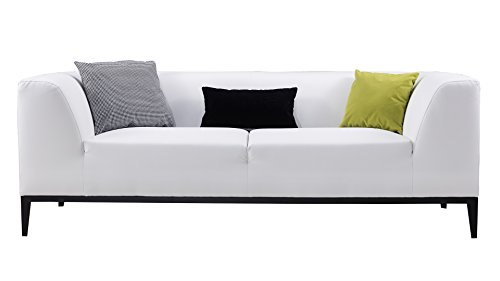 - American Eagle Furniture Olivia Minimal Living Room Bonded Leather Upholstered Sofa with Throw Pillow, White