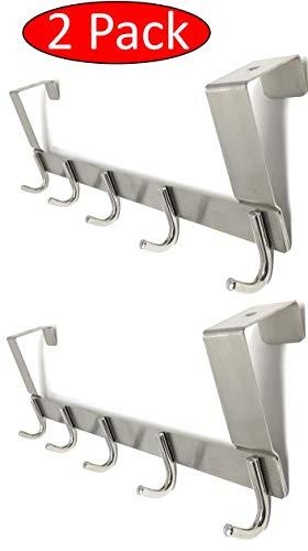 TEJATAN - Set of 2 - Over The Door Hooks (Can Also be Known as - Door Coat Hanger, Door Hook, Bathroom Door Hanger, Bathroom Hardware Accessory - Over The Door Hooks) (Set of 2 - Single Hook)
