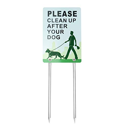 Kichwit Double Sided Please Clean Up After Your Dog Sign, No Dog Pooping Sign, Measures 7.9 x 11.8, 14 Long Metal Stakes Included