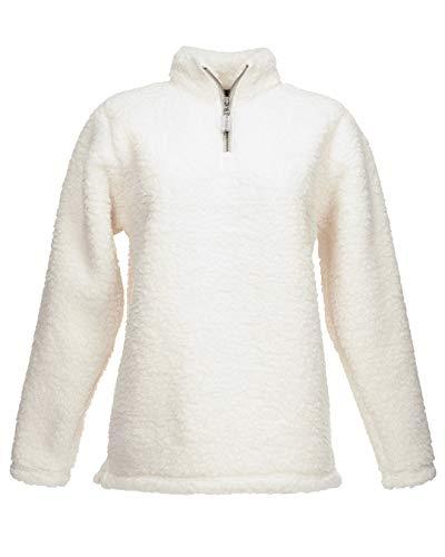 J. America Womens Epic Sherpa 1/4 Zip Sweatshirt (JA8451) -Cream -XL -