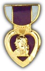 Military Medal Heart (Purple Heart Mini Medal Small Pin)