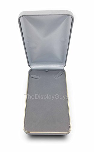 The Display Guys~ Deluxe Gray VELVET Necklace Gift Box, Jewelry Presentation Display Case with Gold Trim Metal Hinge (7x4 1/2x1 5/8 inch)