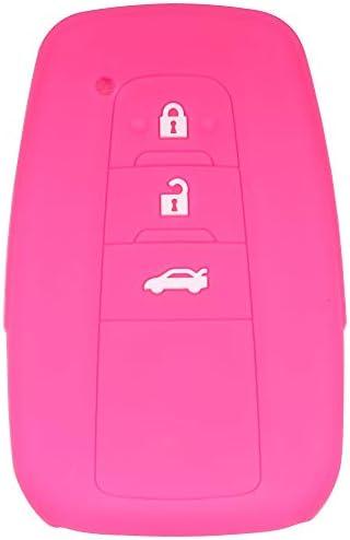 自動車用 TOYOTA キーケーストヨタカムリ Camry RAV 4 新型クラウン NEW CROWN C-HR プリウス PRIUS ランドクルーザープラド (LAND CRUISER PRADO) 3ボタンに適したシリコーンゴム保護スリーブ防塵防水耐摩滑らかな シリコン製専用キーカバー (バラ色)