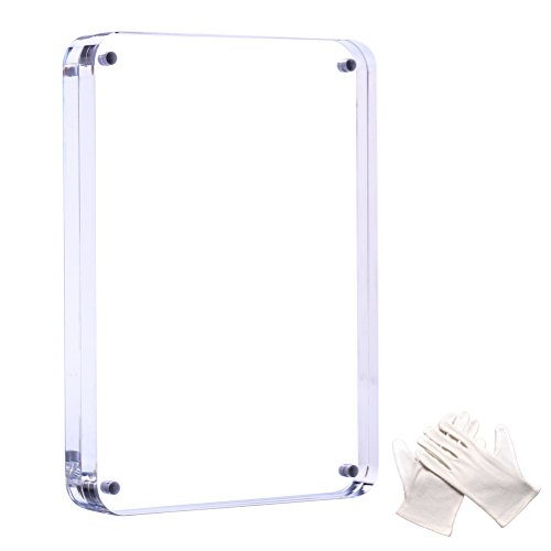Cozii 4x6 inch Clear Acrylic Picture Frame - 0.79 inch/20 mm Thick,Safety fillet (90 degree fillet) Strong Magnetic Suction Creative Double Highly Transparent Acrylic Frame Desktop Photo Frame