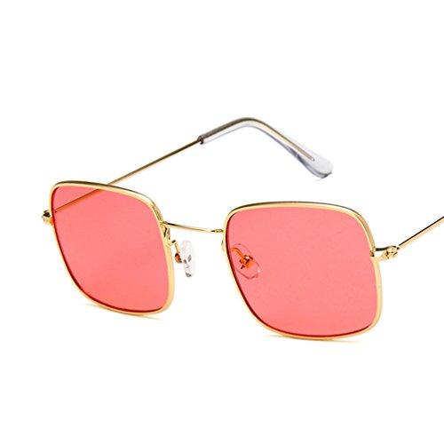 Sol Transparente De Gafas Cuadradas Gafas De Moda Retro De Marco De Metal Unisexo Dorado Rojo Marco Marinas Sol Ketamyy Películas 0Ptqw
