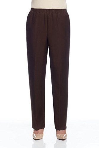 - Alfred Dunner Petite Basic Polyester Pull-On Pants 09300, Brown, Size 10P