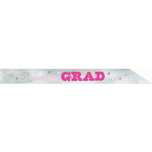 Amscan Savvy Graduation Party Princess Grad Sash, Pink/Silver, 30'