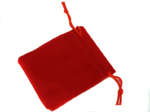 - Pack of 8 Small Red Velvet Pouches with Drawstring for Jewelry Gift Bags (1.97x2.75in)