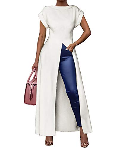 Ophestin Women's Casual Basic Blouse Short Sleeve Drawstring Summer High Low Shirt Blouse Top White#2 L