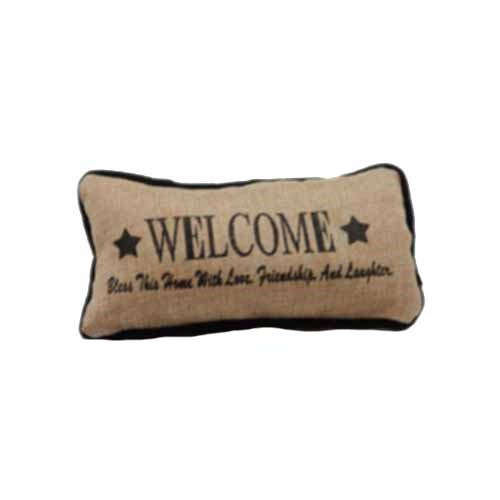 Green Pastures Wholesale 11 Burlap Welcome Pillow WL9685A