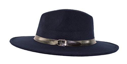Wide brimmed Gangster Fedora w/Buckle hatband, Large Felt Flat Brim Panama Hat (Navy Blue)