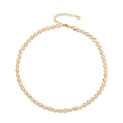 - Mevecco Gold Freshwater Cultured Pearl Choker Necklace,14K Gold Plated Dainty Cute Tiny Bead Link Chain Minimalist Simple Choker Necklace for Women