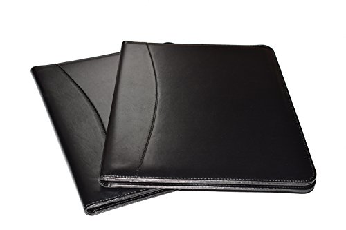 Leather Portfolio Folder, 2 Professional Leather Padfolio Folders, Great for Your Office, for College Students or for Carrying Your Resume to Job (Clear Front Pocket Padfolio)