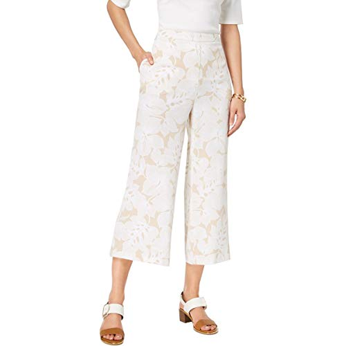 Tommy Hilfiger Womens Floral Print Cropped Wide Leg Pants Beige - Hilfiger Tommy Jeans Ladies