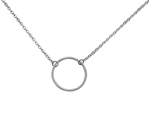 Circle Choker Karma Necklace for Womens Girls Stainless Steel Silver-Tone