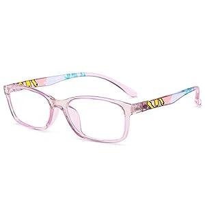 Fantia Unisex Child Non-Prescription Glasses Frame Clear Lens Kids Eyeglasses (2#-Pink)