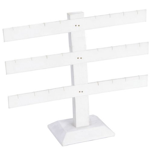 White Faux Leather T-Bar Earring Display Rack 8.5H Jewelry Holder Stand
