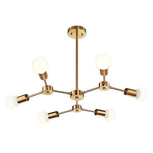 MELUCEE Modern Sputnik Chandeliers 6-Light Brass Mid Century Light Fixture Flush Mount Ceiling Light Pendant Light for Kitchen Island Living Room Bedroom Foyer Hallway ()