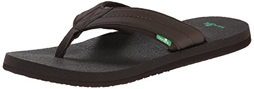 Flip Flops Mens Sanuk - Sanuk Men's Beer Cozy 2 Flip-Flop, Dark Brown, 11 M US