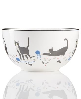 Martha Stewart Collection Pups & Plaids Cat Cereal Bowl