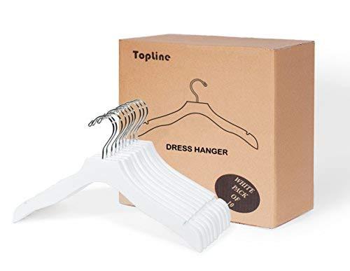 (Topline Classic Wood Bridal Dress Hangers - White Finish (10-Pack))