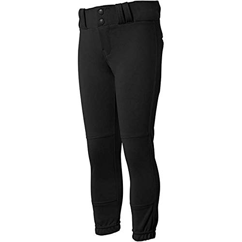 CHAMPRO Youth Tournament Traditional Low-Rise Polyester Softball Pant, Medium, Black
