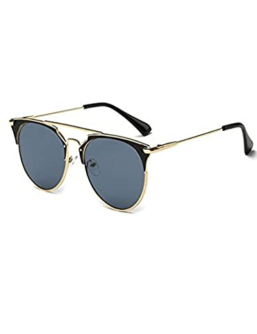 Unisex Round Horn Rimmed Glasses Golden Metal Frame Uv400 Sunglasses A1 - Revolution Rimless Eyeglasses