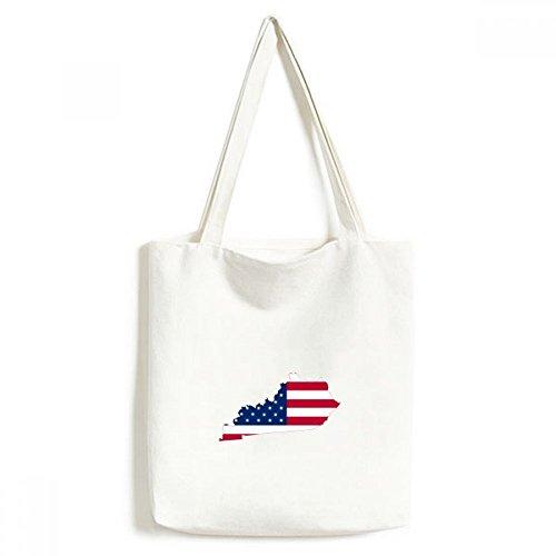 The United States of America USA Kentucky Map Stars and Stripes Flag Shape Environmentally Tote Canvas Bag Shopping Handbag Craft Washable