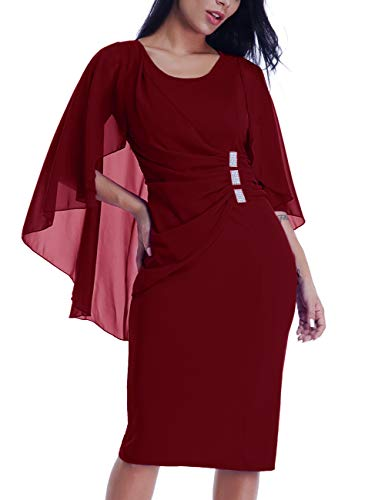 LALAGEN Womens Chiffon Plus Size Ruffle Flattering Cape Sleeve Bodycon Party Pencil Dress Red XXL from LALAGEN