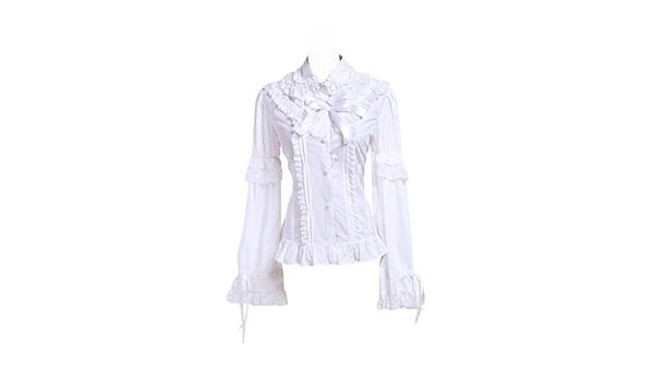 Blanca Algodón Volantes Encaje Vintage Victoriana Kawaii Lolita Camisa Blusa de Mujer