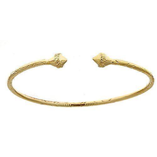10K Yellow Gold West Indian Bangle w. Pointy Ends (MADE IN USA)