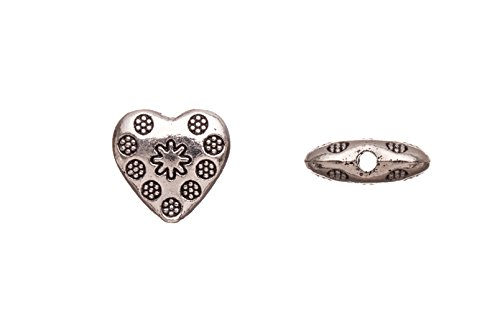 Pewter Beads, Burnished Silver Plated, Double-Sided Flower Patterned Puff Heart sold per 10pcs/pack (3pack bundle), SAVE $2