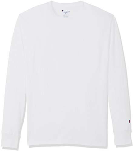 Champion Men's Classic Jersey Long Sleeve T-Shirt, White, L ()